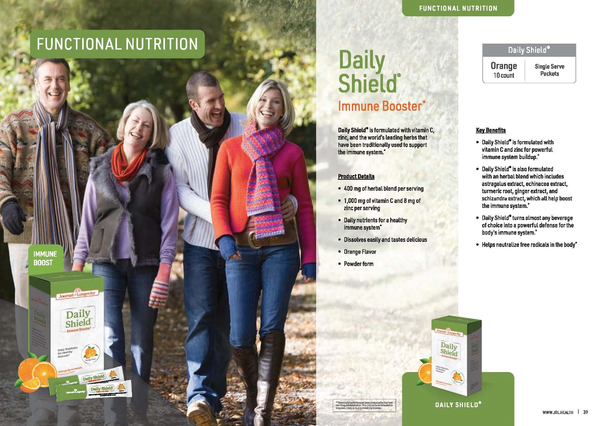 Journal of Longevity Daily Shield Immunity Booster Supplement with Vitamin C And Zinc For Immune System Support