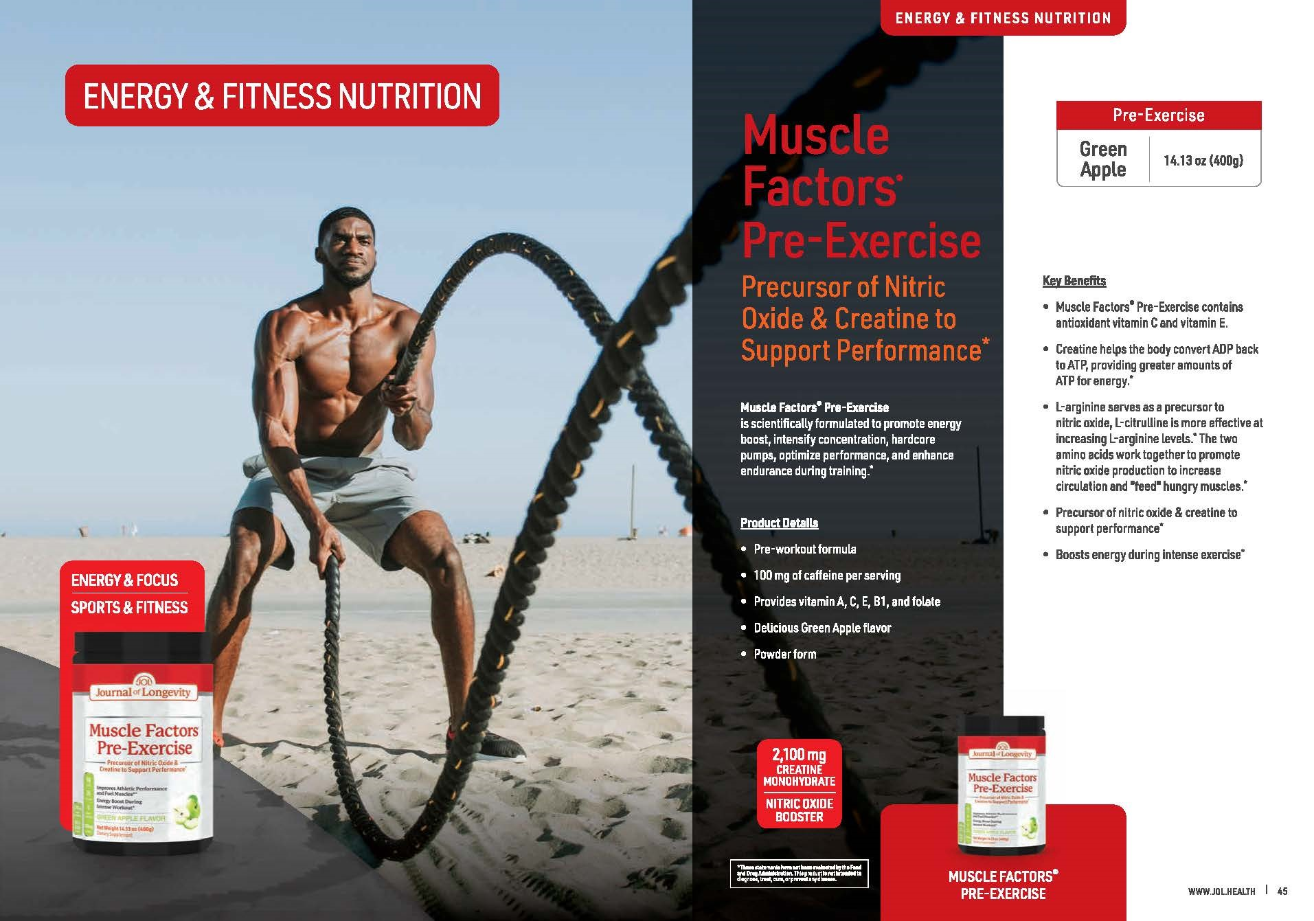 Journal of Longevity Pre-Exercise Pre-Workout with BCAAs and Creatine to Enhance Energy For Fitness and Exercise