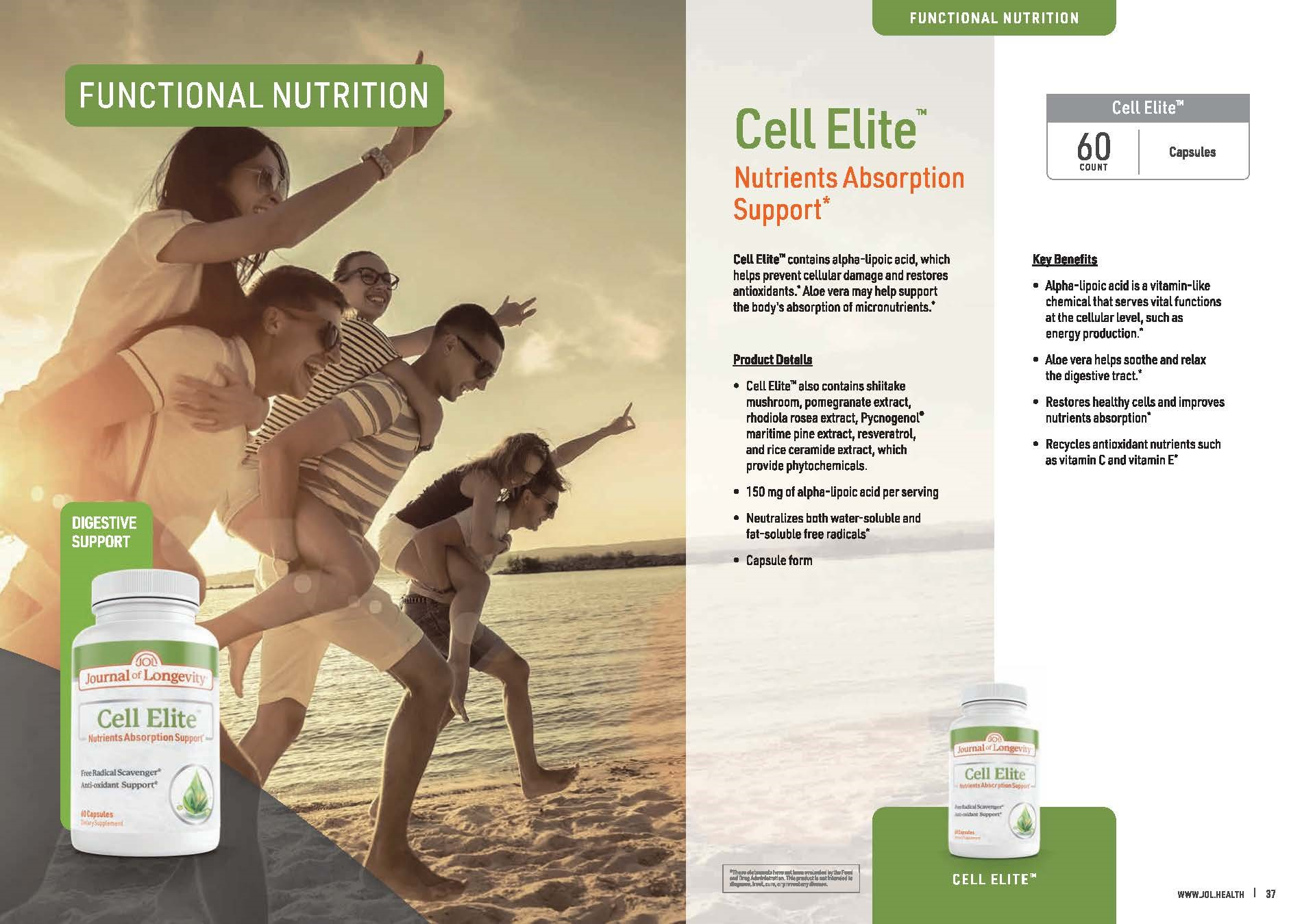 Journal of Longevity Cell Elite With Alpha Lipoic Acid For Cellular Damage Support Antioxidants and Nutrients Aborption
