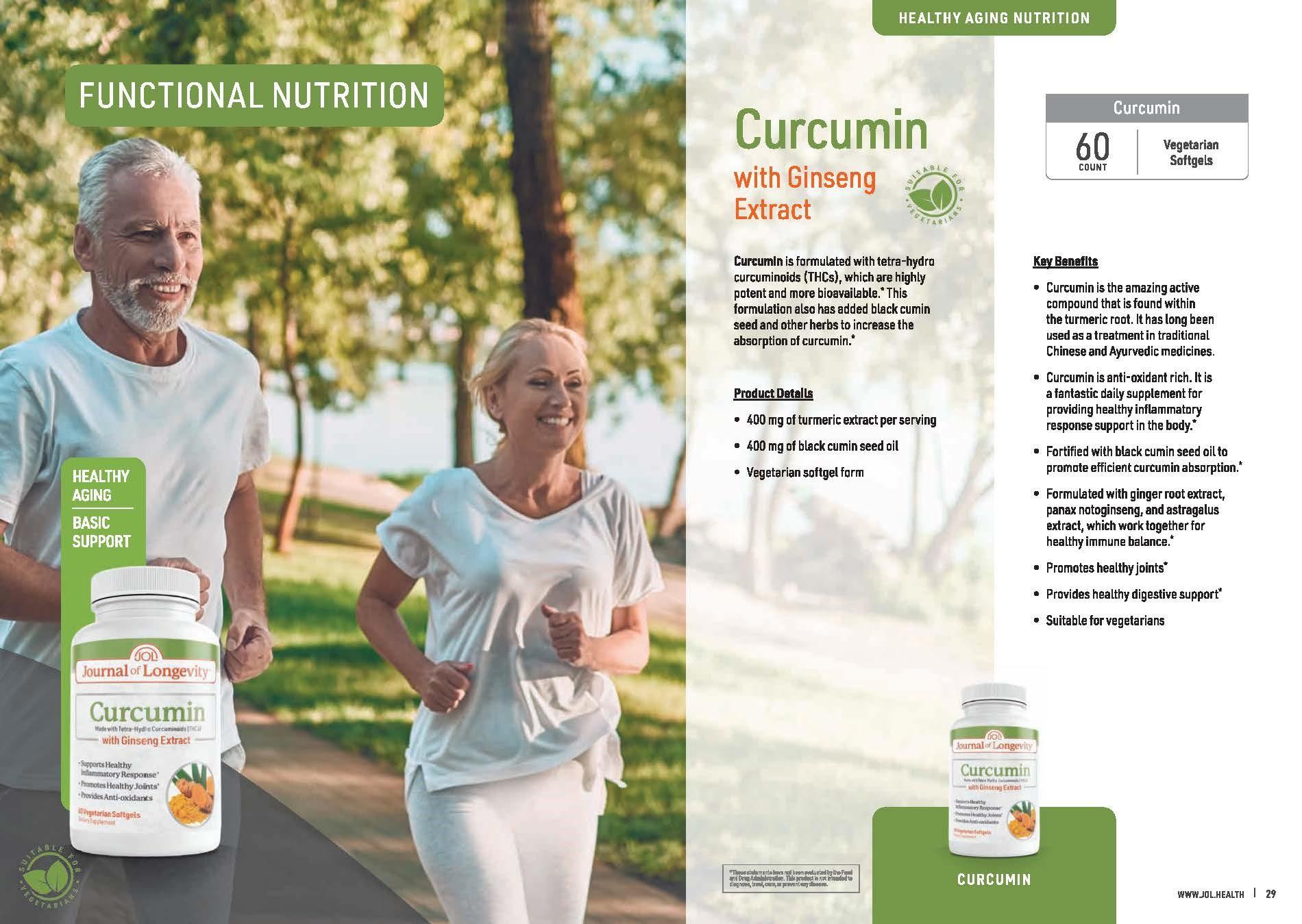 Journal of Longevity Curcumin Vegetarian softgel with Ginseng Extract