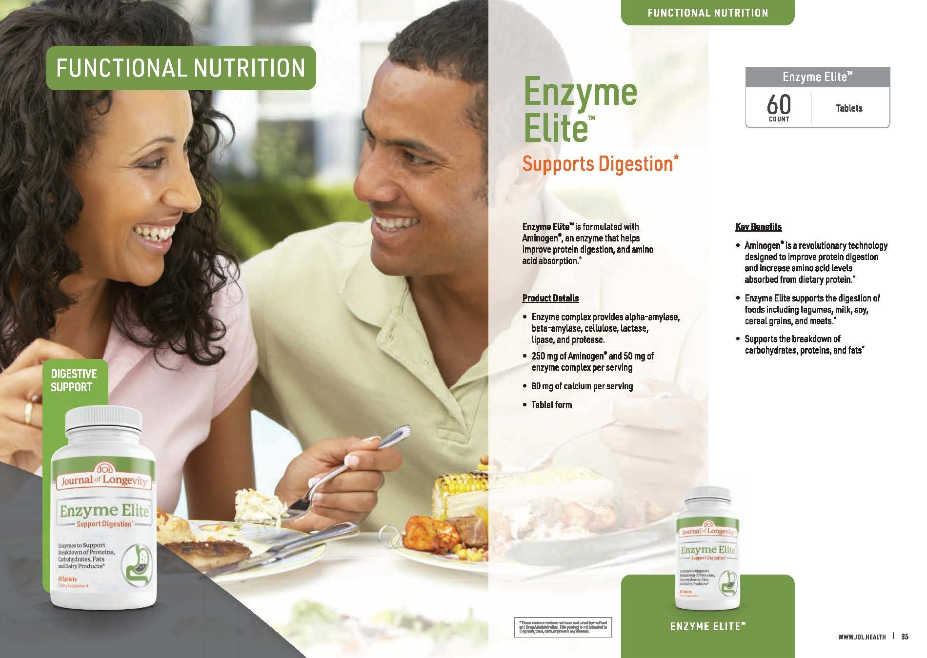 Journal of Longevity Enzyme Elite Supplement Vitamin For Protein Digestion Support With Aminogen