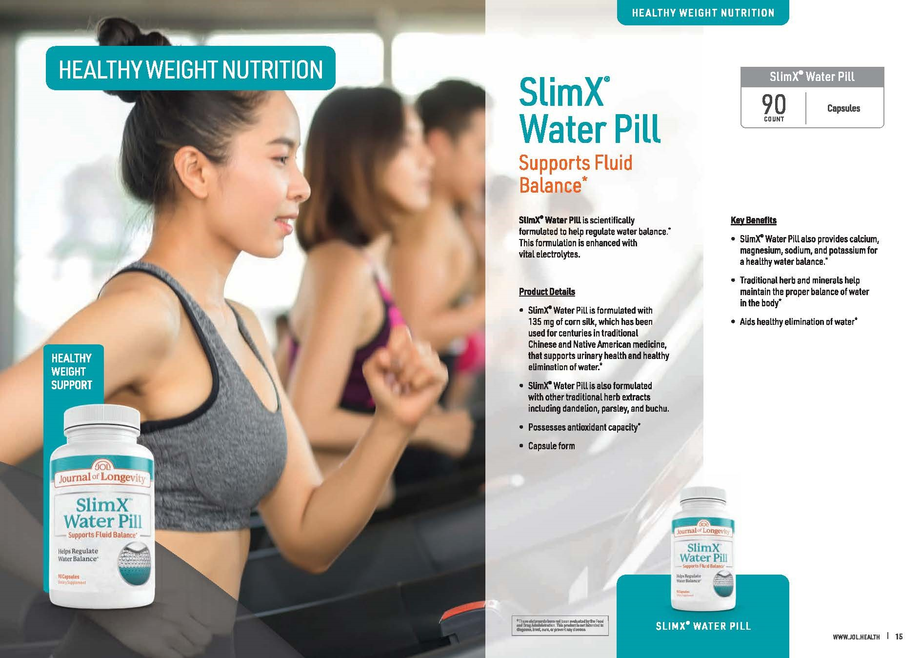 Journal of Longevity Slim X Water Pill Capsule Vitamin to Support Healthy Elimination of Water