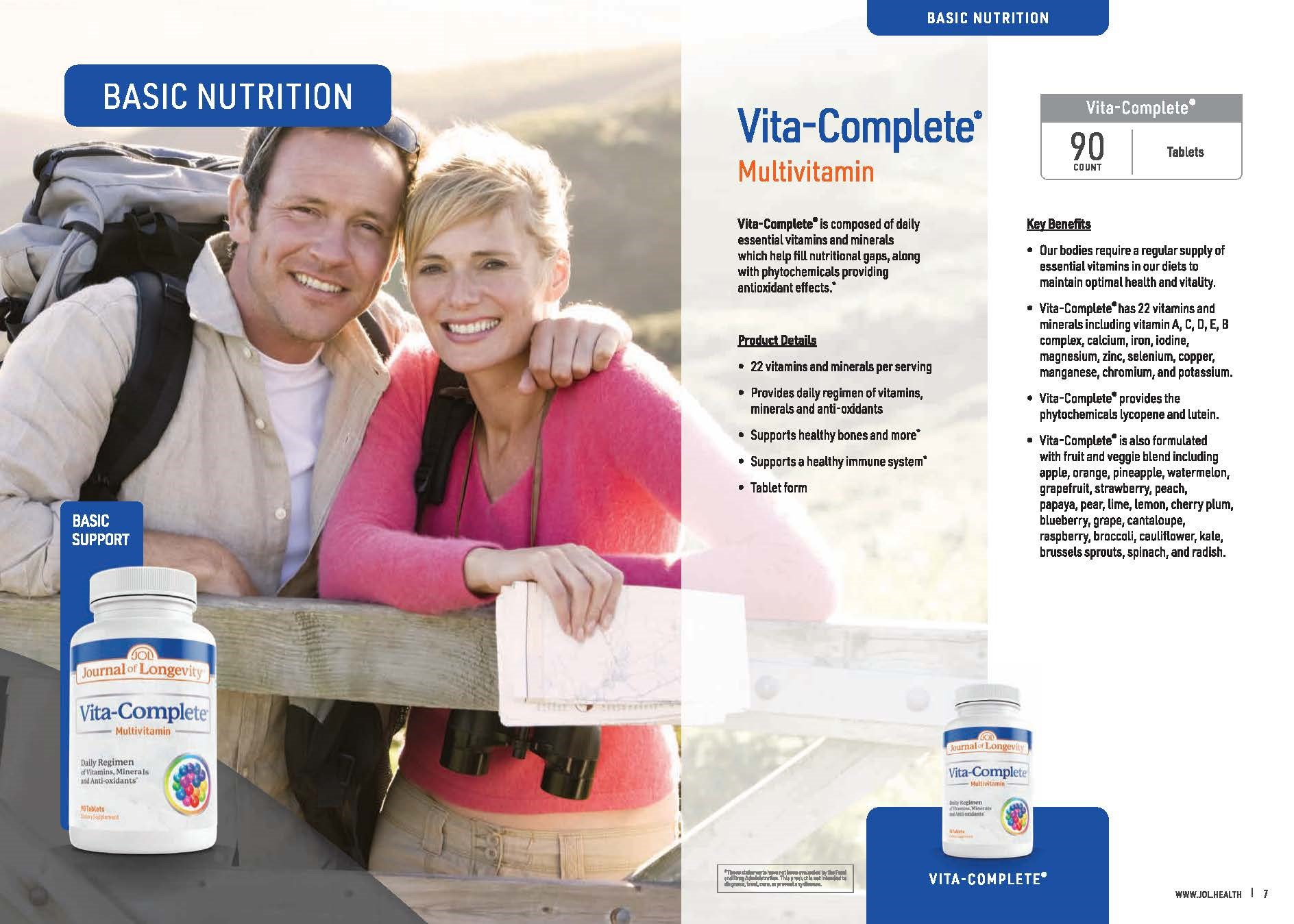 Journal of Longevity Vita-Complete Multivitamin Tablet With 22 Vitamins and Minerals Nutrition Supplement
