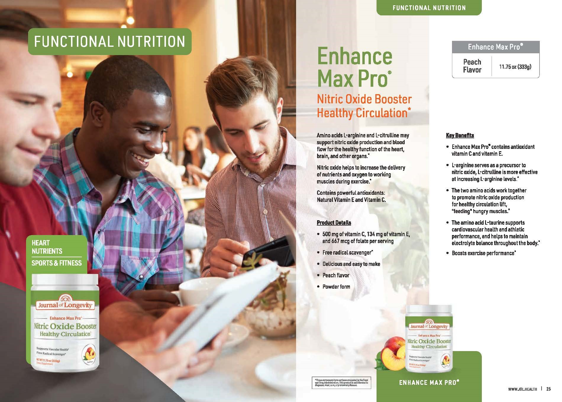 Journal of Longevity Enhance Max Pro Nitric Oxide Booster Powder Supplement For circulation