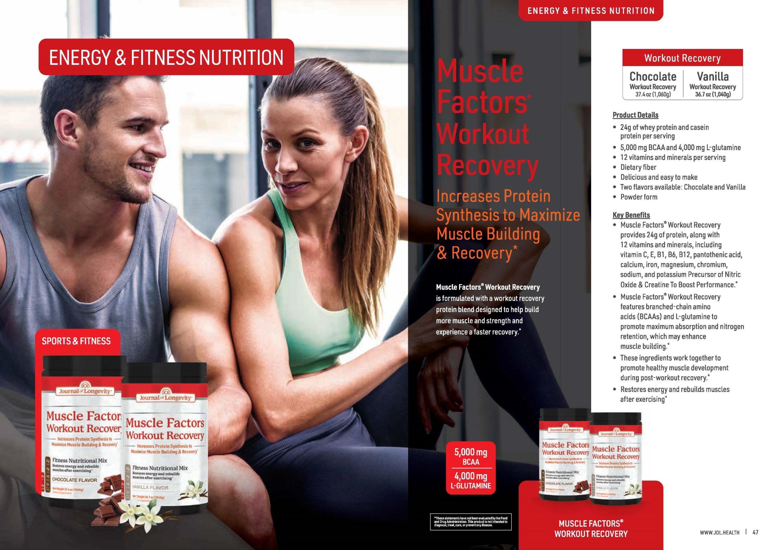 Journal of Longevity Muscle Factors Workout Recovery Whey Protein Powder - Sports, Energy & Fitness